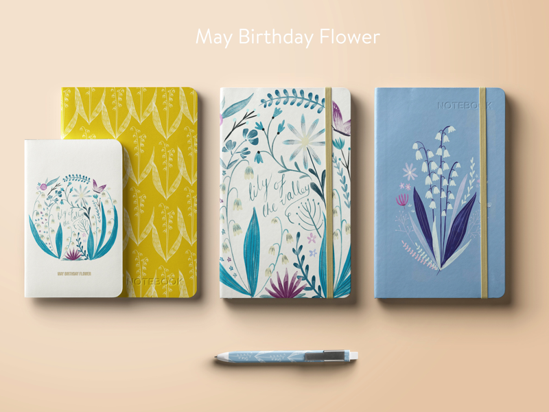 Illustrating birthday journals lily of the valley flower pattern