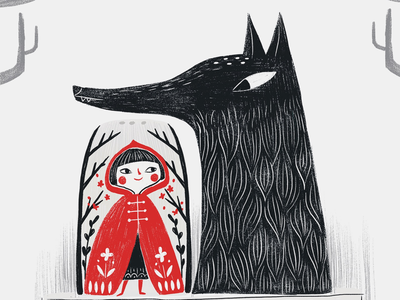 Grimm flavor tales. illustration character red wolf fairy tale flavors