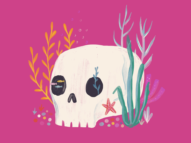 Gone fishing. plants skull illustration