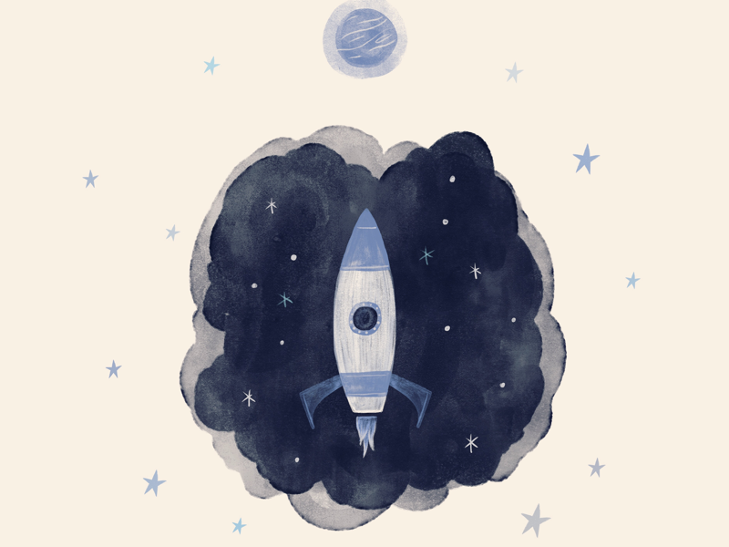 Reach for stars rocket watercolor illustration