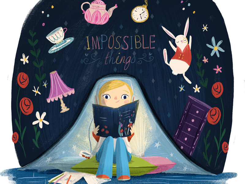 Impossible Things reading dyslexia illustration