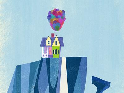 Paradise Falls — UP iPhone wallpaper iphone wallpaper up pixar illustration paradise falls balloons house
