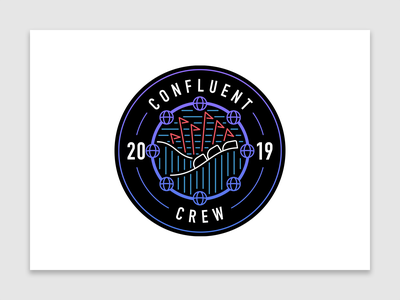 Confluent Crew | Six Flags theme park shield intern internship startup technology tech graphic design team crew flat design flat vectorart logo vector confluent illustration design