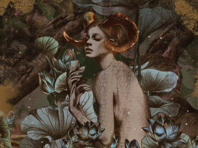 The Golden Horn: Aries fantasy stars nature mythology zodiac drawing illustration