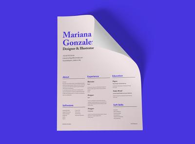 Mariana Gonzalez Resume cv resume digital brand identity ui contrast layout typogaphy photoshop graphic design branding