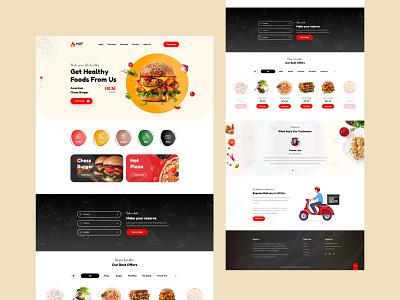 Restaurant Website Template Design adobe xd design clean ui food and drink fastfood website design restaurant