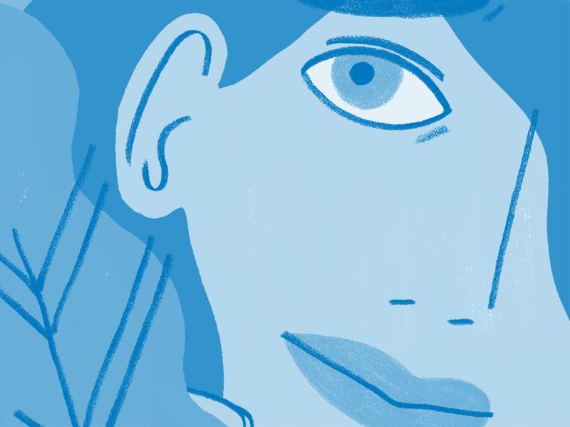 Tender Zine leaf plants lady ladies monochromatic blue eye woman women people figure illustration
