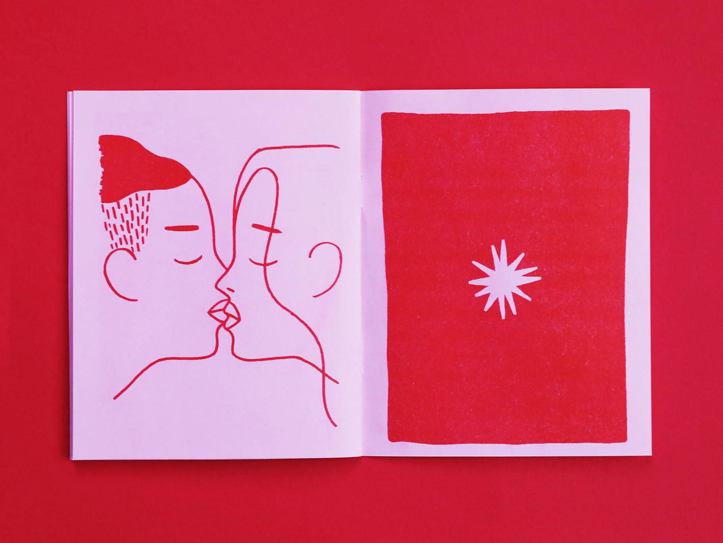 Sex Dream Zine Spread zine risograph riso red pink lady ladies illustration