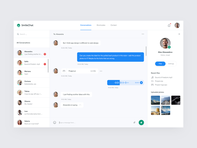 Smile Chat Dashboard Design conversation chat design file audio files user message chat ui chat app dashboard ui dashboard smile chat ux ui clean simple