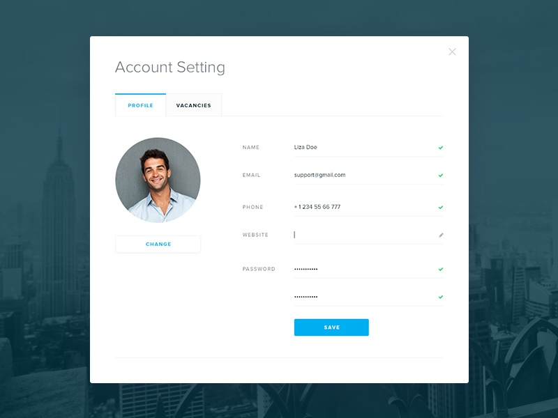 Account Popup tabs profile avatar button setting acount ux ui