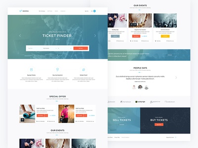 Boomza — Event Landing Page Template web ux ui tickets theme services layout flat finder events design buy