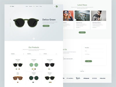 Oppy Final contact news web ux ui sunglasses store slider product oppy icons glasses flat e-commerce