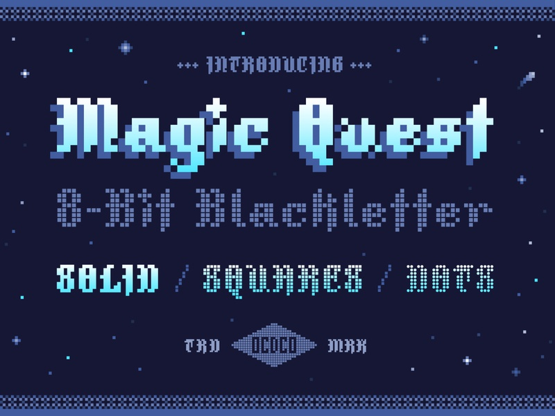 Magic Quest - 8-Bit Blackletter quest magic font family videogame futuristic retro poster art vector font design fonts design blackletter typography