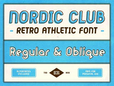 Nordic Club - FREE FONT retro design retro font font family font design x-country skiing nordic retro vintage texture typography design branding poster art freebie font