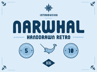 New Font - Narwhal free font vector design typography illustration