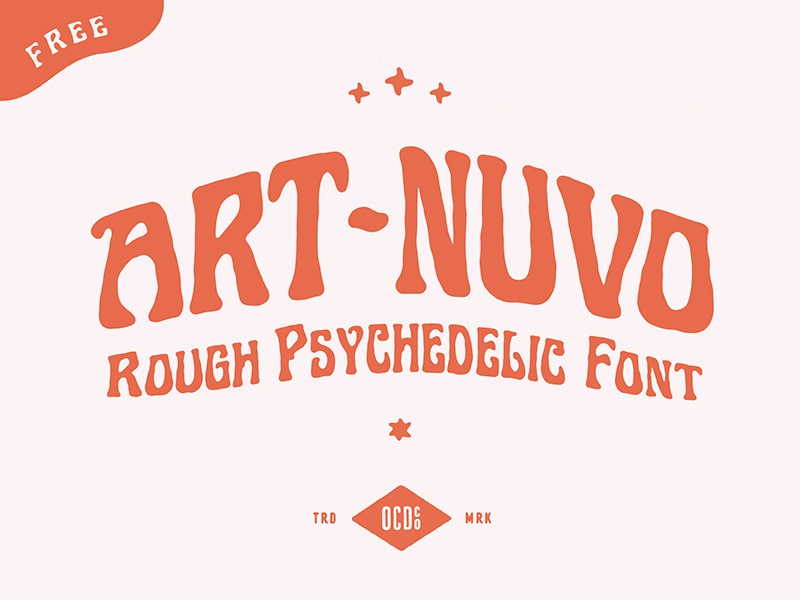 Free font - Art-nuvo psychedelia free font design font festival poster poster art psychedelic vector hand-drawn band art design illustration