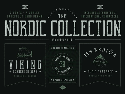 The Nordic Collection poster art logo celtic gaelic nordic viking vector hand-drawn typography design illustration