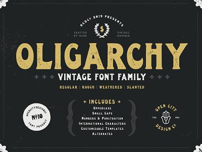 Oligarchy texture band art branding logo poster art font family font vintage design illustration vector hand-drawn typography