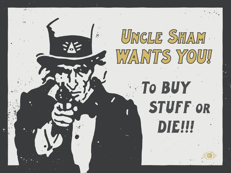 Uncle Shamwow consumerism handlettering oligarchy texture grunge texture font family vintage band art font logo branding vector poster art hand-drawn typography design illustration