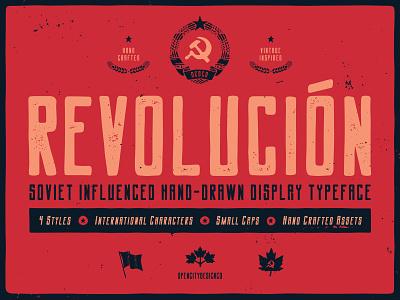 New typeface - Revolucion brutalist soviet revolutionary canada revolution texture grunge texture font family vintage band art font logo branding vector poster art hand-drawn typography design illustration