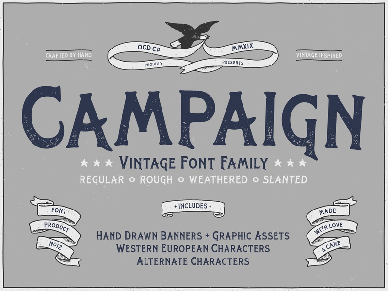 Campaign Typeface hand crafted serif assets graphic design graphics banners illustration logo poster art texture grunge texture vector font family vintage font branding hand-drawn typography design