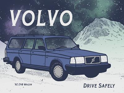Volvo 240 winter car canada aurora borealis mountains sweden volvo campaign serif texture font family vintage font branding vector poster art hand-drawn typography design illustration