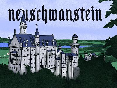 Neuschwanstein font family texture branding vector poster art hand-drawn typography design illustration castles germany bavaria castle