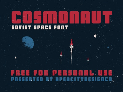 Cosmonaut - Free soviet planets spaceship bold logo branding poster art free font vector cosmonaut space hand-drawn typography design illustration