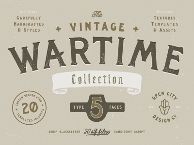 THE WARTIME COLLECTION patches labels templates wartime collection texture vintage logo illustration font branding vector poster art hand-drawn typography design