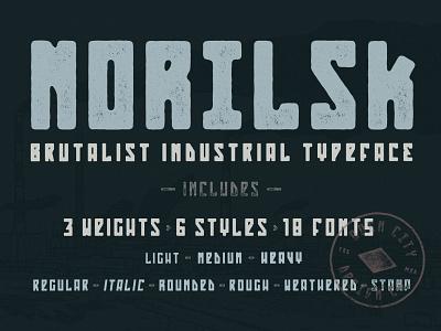Norilsk - Brutalist Industrial Typeface family typeface texture vintage logo font branding poster art vector hand-drawn typography illustration design