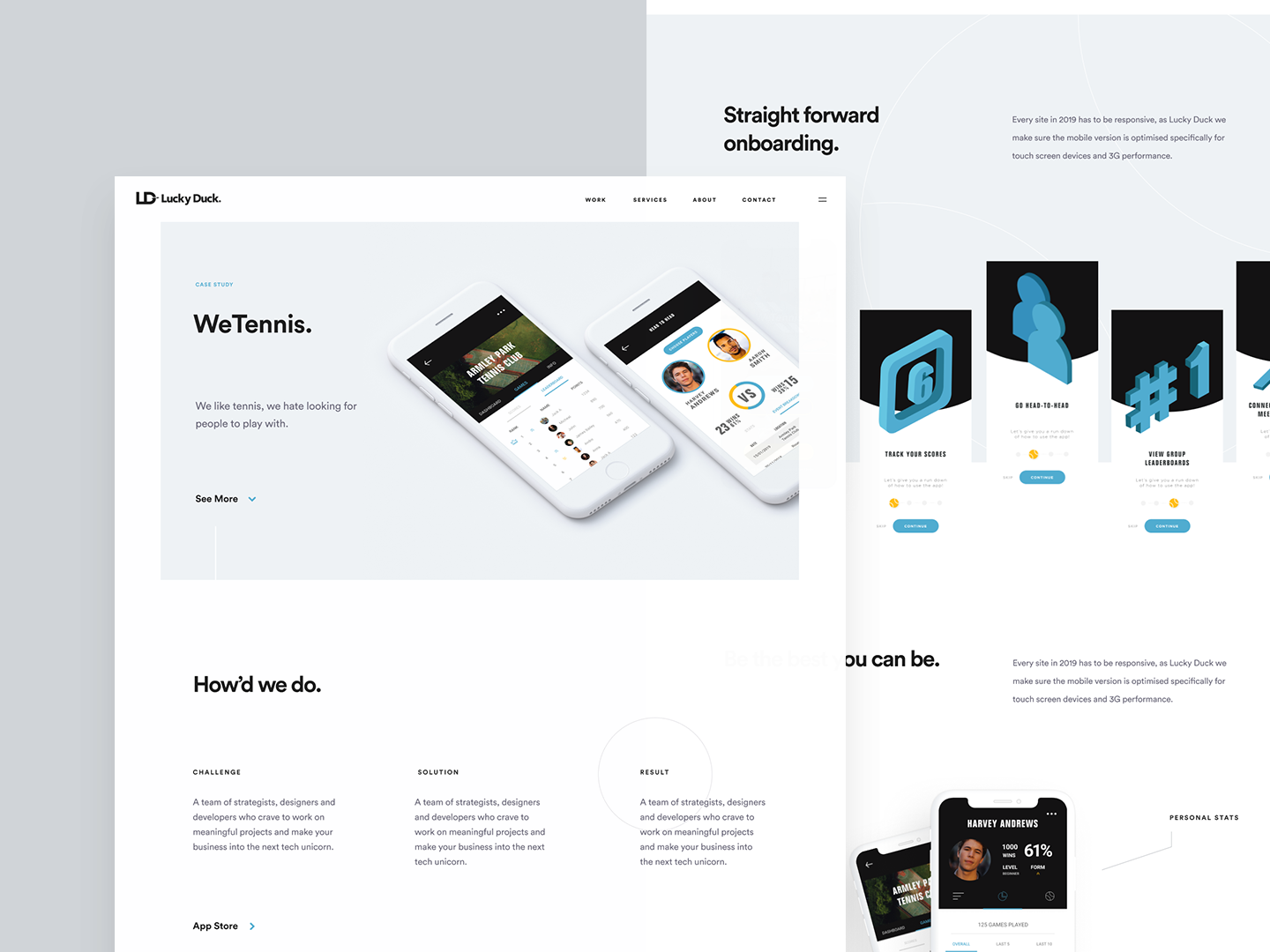Wetennis Application Case Study By Lucky Duck Design Inspiration
