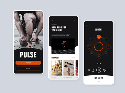 Workout app workout pulse sport app sports mobile app mobile ui user interface user experience design ux ui dailyui