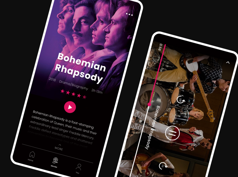 Demand app movie app music bohemian rhapsody player on demand demand app mobile ui dailyui user interface user experience ux ui