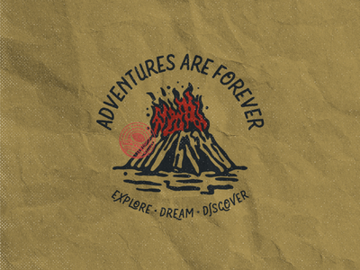 Adventures are Forever badgedesign clothing drawing