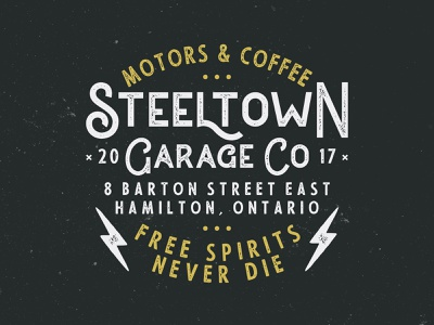 Steeltown Garage - Motors & Coffee vector branding typography design logo illustration