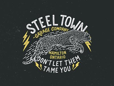 Steeltown Garage - Motors & Coffee lettering vector typography logo illustration design branding