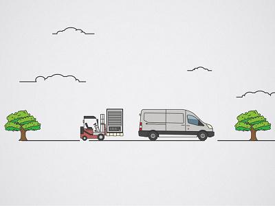 Load it up! trees unused illustrator line lineart van forklift