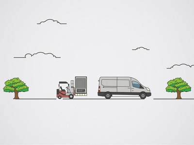 Load it up! trees unused illustrator line lineart van forklift