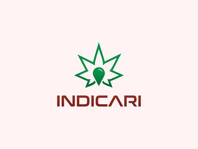 Indicari Logo drop oil indica cannabis design weed branding leaf typography minimalist concept vector logo