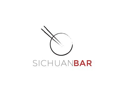 SichuanBar Logo chopsticks bowl chinese food creative branding typography illustration minimalist concept vector logo design