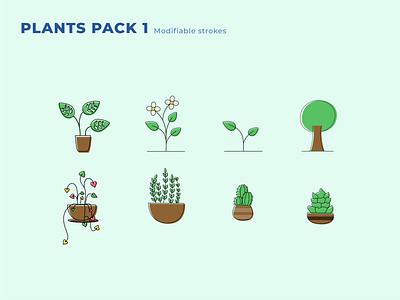 Plant Pack 1 plant leaf illustration minimalist vector icon design