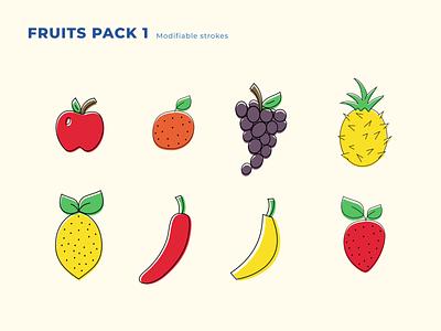 Fruits Pack 1 fruits fruit icon illustration minimalist concept vector design