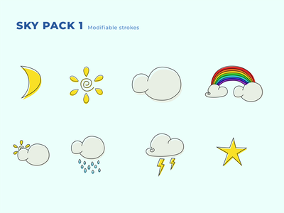 Sky Pack 1 rainbow sun rain clouds cloud sky icon illustration minimalist vector design