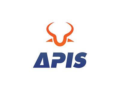 Apis Visuals folder bull letterhead envelope business card stationery creative branding typography minimalist concept vector logo design