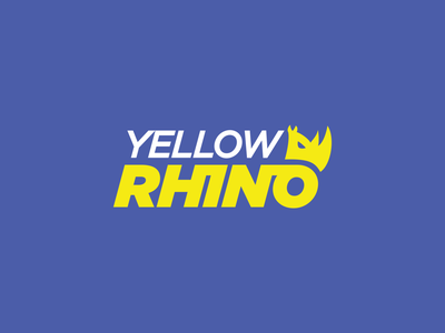 Yellow Rhino Visuals folder business card envelope letterhead rhino construction animal creative branding typography minimalist concept vector logo design