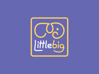 Littlebig Logo baby shop kids cub lineart line elephant animal creative branding illustration typography minimalist concept vector logo design