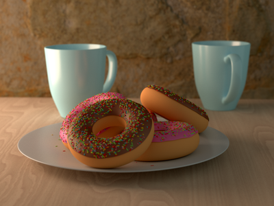 Morning Chat stylized concept coffee donut 3d art illustration design