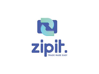 Zipit logo ecommerce shop ecommerce app ecommerce trade money money app web app creative branding illustration minimalist concept vector logo design