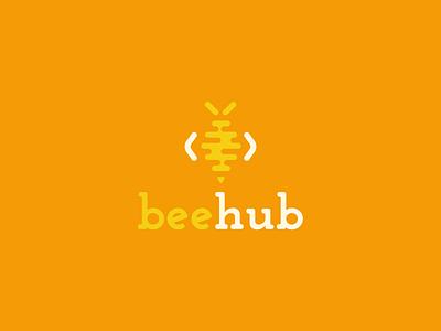 Beehub Logo coding kids tech bee branding minimalist concept vector design logo