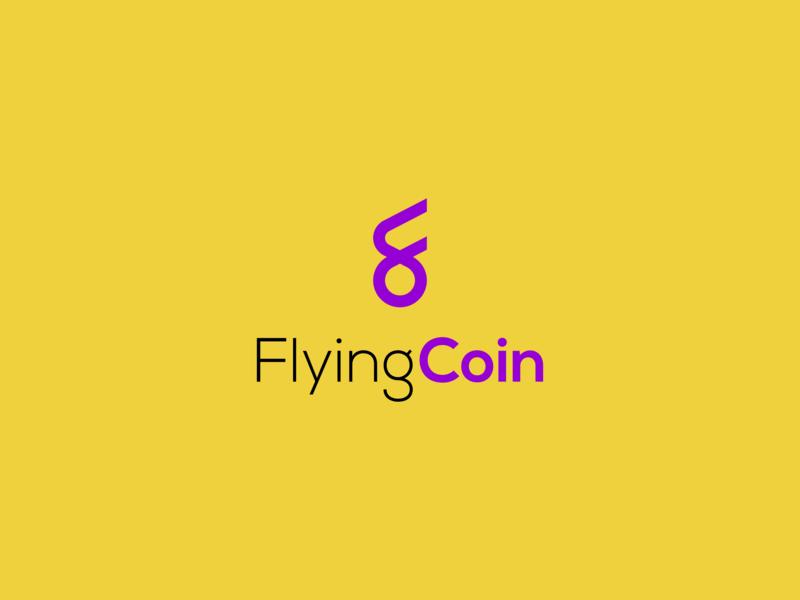 FlyingCoin Logo flying wings coin minimalist concept vector logo design
